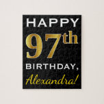 [ Thumbnail: Black, Faux Gold 97th Birthday + Custom Name Jigsaw Puzzle ]