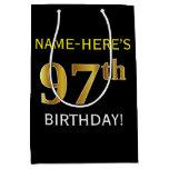 [ Thumbnail: Black, Faux Gold 97th Birthday + Custom Name Gift Bag ]