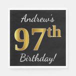 [ Thumbnail: Black, Faux Gold 97th Birthday + Custom Name Paper Napkin ]