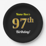 [ Thumbnail: Black, Faux Gold 97th Birthday + Custom Name Paper Plate ]