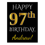 [ Thumbnail: Black, Faux Gold 97th Birthday + Custom Name Postcard ]