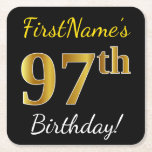 [ Thumbnail: Black, Faux Gold 97th Birthday + Custom Name Paper Coaster ]