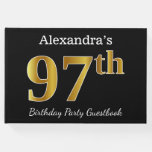 [ Thumbnail: Black, Faux Gold 97th Birthday Party + Custom Name Guest Book ]