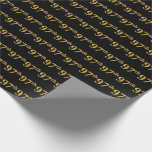 [ Thumbnail: Black, Faux Gold 97th (Ninety-Seventh) Event Wrapping Paper ]