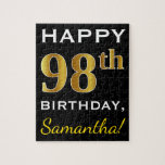[ Thumbnail: Black, Faux Gold 98th Birthday + Custom Name Jigsaw Puzzle ]