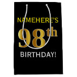[ Thumbnail: Black, Faux Gold 98th Birthday + Custom Name Gift Bag ]