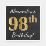 [ Thumbnail: Black, Faux Gold 98th Birthday + Custom Name Paper Napkin ]