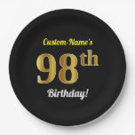 [ Thumbnail: Black, Faux Gold 98th Birthday + Custom Name Paper Plate ]