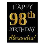 [ Thumbnail: Black, Faux Gold 98th Birthday + Custom Name Postcard ]