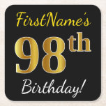 [ Thumbnail: Black, Faux Gold 98th Birthday + Custom Name Paper Coaster ]