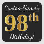 [ Thumbnail: Black, Faux Gold 98th Birthday + Custom Name Sticker ]