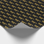 [ Thumbnail: Black, Faux Gold 98th (Ninety-Eighth) Event Wrapping Paper ]