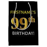 [ Thumbnail: Black, Faux Gold 99th Birthday + Custom Name Gift Bag ]