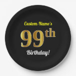 [ Thumbnail: Black, Faux Gold 99th Birthday + Custom Name Paper Plate ]