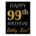 [ Thumbnail: Black, Faux Gold 99th Birthday + Custom Name Postcard ]