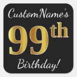 [ Thumbnail: Black, Faux Gold 99th Birthday + Custom Name Sticker ]