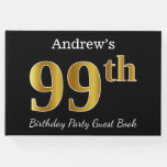 [ Thumbnail: Black, Faux Gold 99th Birthday Party + Custom Name Guest Book ]