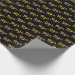 [ Thumbnail: Black, Faux Gold 99th (Ninety-Ninth) Event Wrapping Paper ]