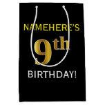 [ Thumbnail: Black, Faux Gold 9th Birthday + Custom Name Gift Bag ]