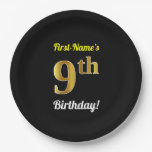[ Thumbnail: Black, Faux Gold 9th Birthday + Custom Name Paper Plate ]