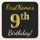 [ Thumbnail: Black, Faux Gold 9th Birthday + Custom Name Paper Coaster ]