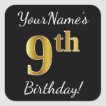 [ Thumbnail: Black, Faux Gold 9th Birthday + Custom Name Sticker ]