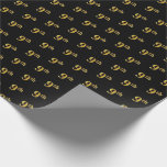 [ Thumbnail: Black, Faux Gold 9th (Ninth) Event Wrapping Paper ]
