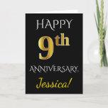 [ Thumbnail: Black, Faux Gold 9th Wedding Anniversary + Name Card ]