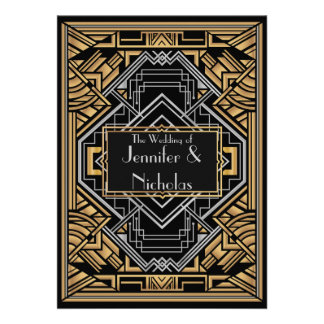 Black Faux Gold and Silver Art Deco Gatsby Style Invites