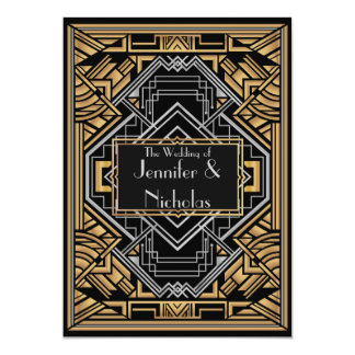 Black, Faux Gold  and Silver Art Deco Gatsby Style Invites
