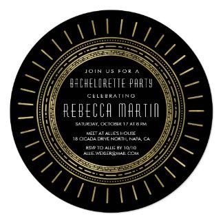 Black & Faux Gold Art Deco Bachelorette Party Invitation