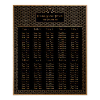 Black Faux Gold Art Deco Fan Wedding Seating Chart Poster