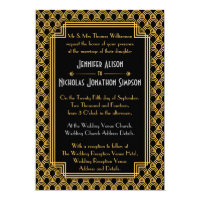 Black Faux Gold Art Deco Fans Pattern Wedding Card