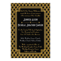 Black Faux Gold Art Deco Fans Pattern Wedding Card