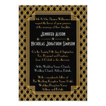 Black Faux Gold Art Deco Fans Pattern Wedding Invitation