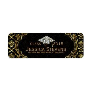 Black & Faux Gold Damasks & Glitter Grad Hat Label