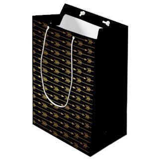 Black Faux Gold Foil Arrows Pattern Medium Gift Bag