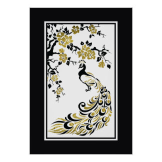 Black faux gold foil peacock and cherry blossoms poster