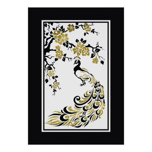 Black, faux gold foil peacock and cherry blossoms poster