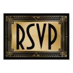 Black & Faux Gold Gatsby Geometric Wedding RSVP Card