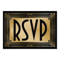 Black & Faux Gold Gatsby Geometric Wedding RSVP Card