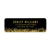 Black Faux Gold Glitter Label