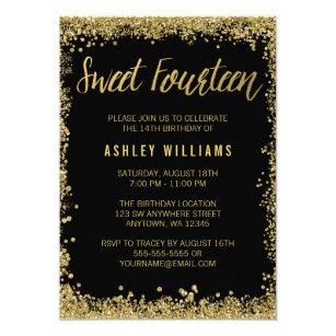 Fourteenth birthday invitations zazzle black faux gold glitter sweet 14th birthday party invitation filmwisefo