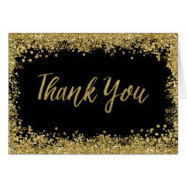 Black Faux Gold Glitter Thank You Card