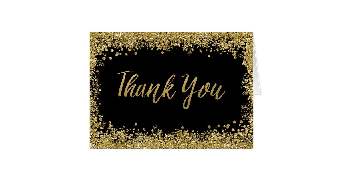 Black Faux Gold Glitter Thank You Card   Zazzle.com