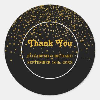 Black Faux Gold Glitter Thank You   Wedding Favor Classic Round Sticker
