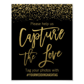 Black Faux Gold Glitter Wedding Hashtag Sign