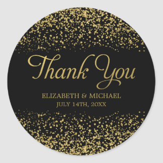 Black Faux Gold Glitter Wedding Thank You Classic Round Sticker