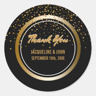 Black Faux Gold Glitter Wedding   Thank You Favor Classic Round Sticker