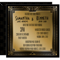 Black & Faux Gold Great Gatsby Geometric Wedding Invitation